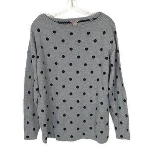 H&M Polka Dot Sweater Womens Gray Black Size XL